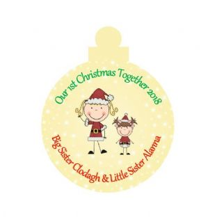 1st Christmas Together Big Sister Little Sister Acrylic Christmas Ornament Decoration